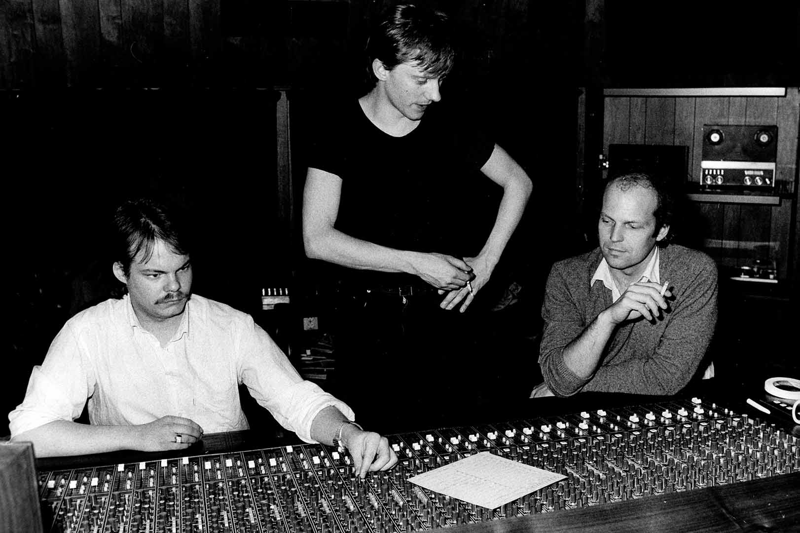 Lasse Wellander, Mats Ronander and Ronny Lahti in the studio